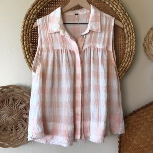 Free people Hey there sunrise button down blouse L